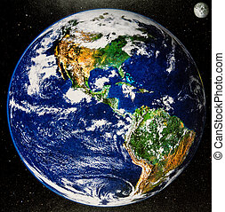 North and South America from space - from old calendar