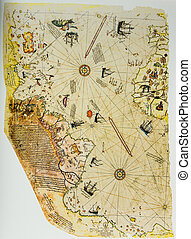 Ottoman Chart of the New World - Turkey 1513. Photo from old...