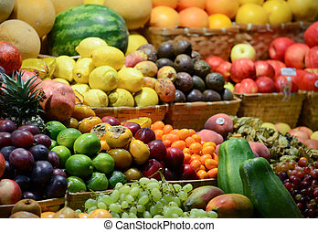 Fruit market with various colorful fresh fruits and vegetables - Market series