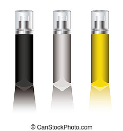 deodorant spray - Three blank deodorant sprays with plastic...