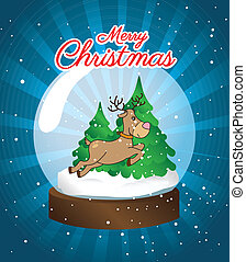 christmas design over night sky background vector...