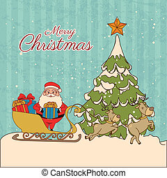 christmas design over lineal background vector illustration