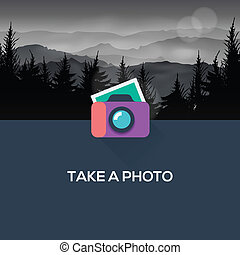 Photo camera web icon flat design, vector Eps10 image.