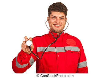 Happy paramedic man showing stehoscope isolated on white...