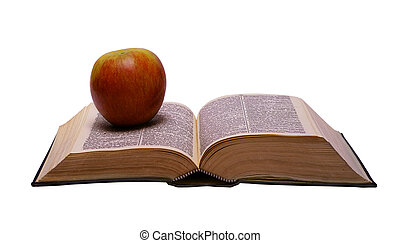 Edication - Opened book with apple isolated on white...