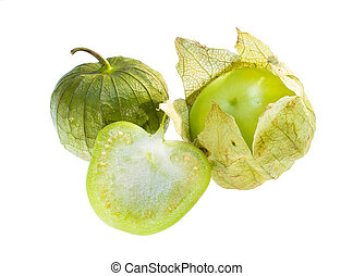 Tomatillo. - Center cut, peeled and whole tomatillo isolated...