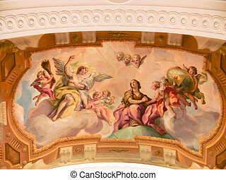 Mural on the wall - Mural on a wall in the Karlskirche...