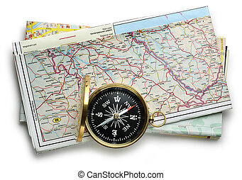 Road map plan and compass on white