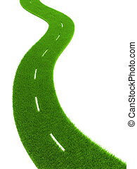 grassy road - 3d grassy road isolated