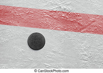 Puck on a hockey rink - Puck lying on a hockey rink Texture,...
