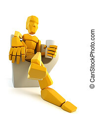 symbolic man relax in easy chair - 3d symbolic man relax in...