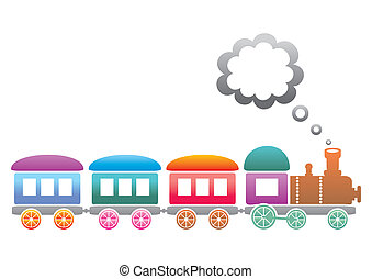 Train - Cute colored retro train on a white background