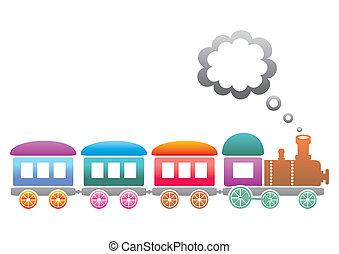 Train - Cute colored retro train on a white background