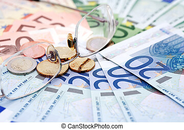 European Union Currency - Business concept. Eyeglasses on...