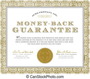 Vector Money Back Guarantee Certificate - Easy to edit...