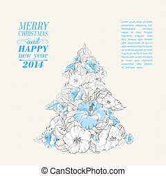 Hibiscus fir tree collage Vector illustration