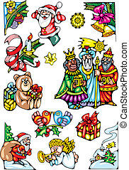 christmas set - illustrated nice christmas set isolated on...