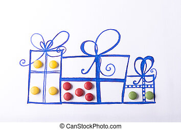 Concept with candies - Studio concept with small round...