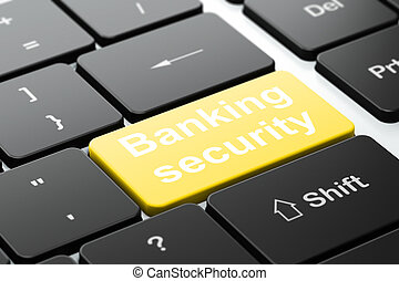 Safety concept: computer keyboard with word Banking Security, selected focus on enter button background, 3d render