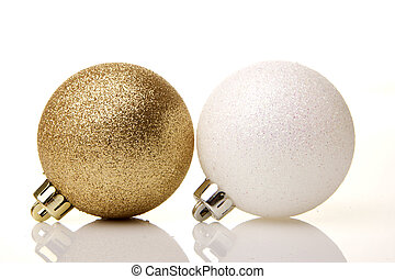 christmas, christmas balls white - golden and white...