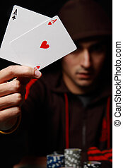 Playing poker - A picture of a very lucky player of poker