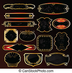 Decorative black golden frames labels . Vector