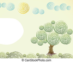 Hand Drawn ornate swirl summer. Vector