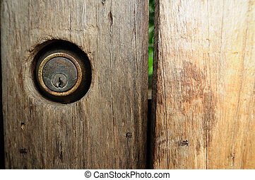 Close up brown wooden fence with  key-hole.