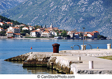 Boka Kotorska bay, Montenegro - View of pier in Boka...