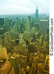 manhattan - aerial view of midtown manhattan, enriched...