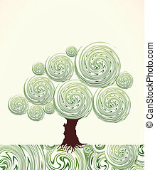 Hand Drawn ornate swirl  tree. Vector