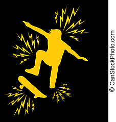 extreme sports skateboarding vector art