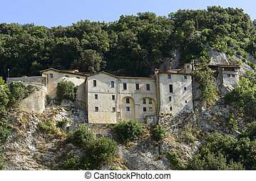 steep side of Greccio Franciscan monastery, Rieti - view of...