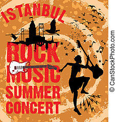 istanbul rock music summer concert vector art