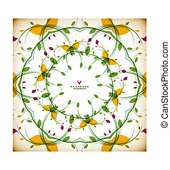 Vector vintage round floral autumn card