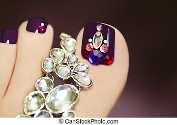 Elegant pedicure with rhinestones - Elegant pedicure with...