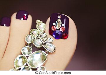 Elegant pedicure with rhinestones. - Elegant pedicure with...