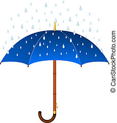 Blue umbrella and rain on white background