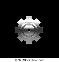 Isolated pinion (gear) on the black background
