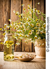 Chamomile - Chamomile flowers on a wooden surface Chamomile...