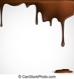 Melted Chocolate Dripping. Vector Illustration. Eps 10.