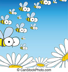 Bee And Daisy. Spring Background. Vector Illustration. Eps...