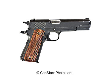 45 mm handgun - A 45 mm handgun with scratches isolated on a...
