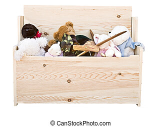 hand crafted toy box - Various toys in a hand crafted toy...