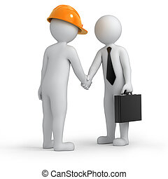 successful deal, builder and businessman shaking hands,...