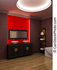 Asian style bathroom interior - 3d rendering of the asian...