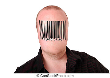 Consumerism - An interesting image of a man with a barcode...