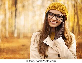retrato, hermoso, mujer, otoño
