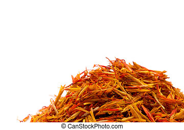 Saffron spice isolated over white background