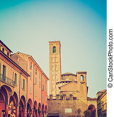 Vintage looking Bologna Italy - Retro looking View of the...